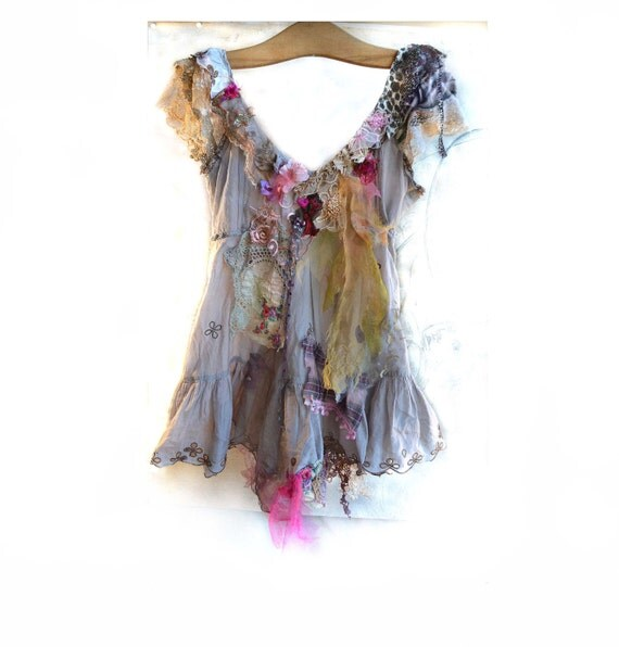 Beautiful Unique Art to Wear Cotton Tunic GRAY GIRL Boho Hippie Cinderella Gipsy Ethno Country