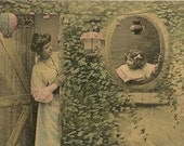 Photo Postcard Woman and Girl - Mother and Child - Japanese Lanterns  - Ivy Wall