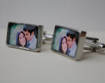 Custom Photo Cufflinks in rectangle settings