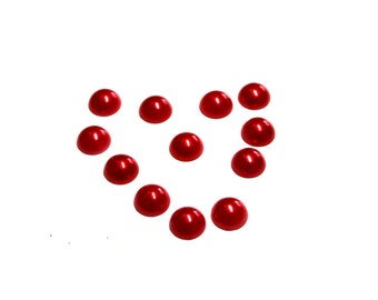 Red Pearl Embellishments -  12 mm Pearl Cabochons - Wholesale Pearl Cabochons - Wholesale Embellishments- Flower Center- Set of 12