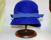 Vintage Blue Velvet Cloche Hat - US shipping included