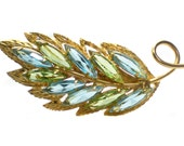 Colorful Blue & Green Navette Rhinestone Leaf Brooch on Gold Tone - Pastel Tone Vintage Jewelry Gift Idea For Her Elegant Formal Evening
