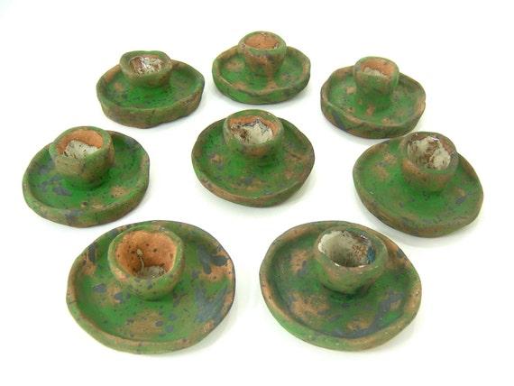 Green gray terra cotta ceramic taper candle holders handmade for fall romantic dinner, garden party, boho rustic home decor, gift idea