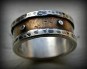 mens industrial wedding ring, rustic fine silver and 14K yellow gold ring with silver rivets, oxidized, handmade mens ring, industrial ring