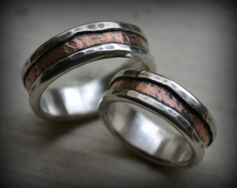 rustic silver and copper wedding ring set - handmade fine silver and copper wedding bands - rustic wedding bands - his and hers customized