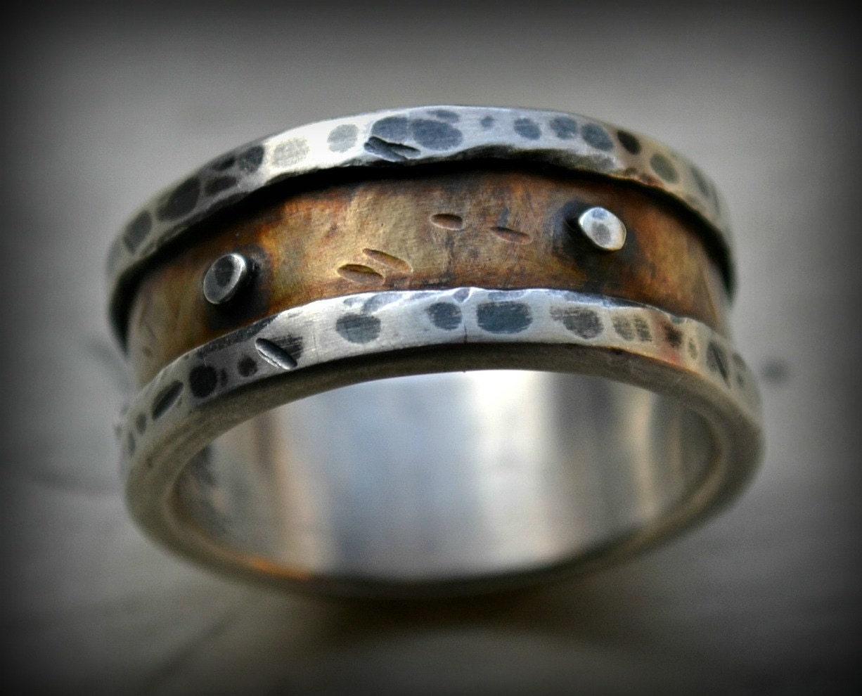 mens industrial wedding ring rustic silver and brass