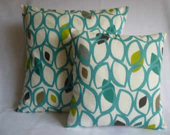 Teal PAIR BIG SMALL Pillows Green Blue Designer Cushion Covers Pillowcases Shams Slips Scatter.