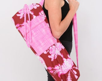 Yoga Bag in Pink and Brown Victorian with a Zipper Pocket- Closeout Sale Free Shipping