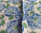 Vintage Cotton Hankie Baby Blue Green and White Flowers