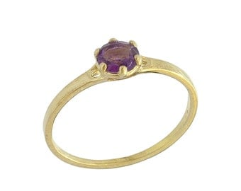 Classic Matte Amethyst Solitaire Ring in Yellow Gold