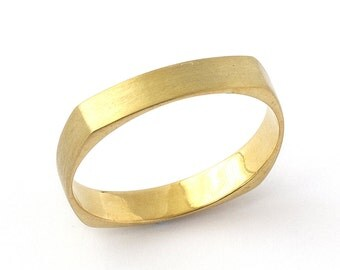 Geometrical Square Polished Wedding Band in Yellow Gold