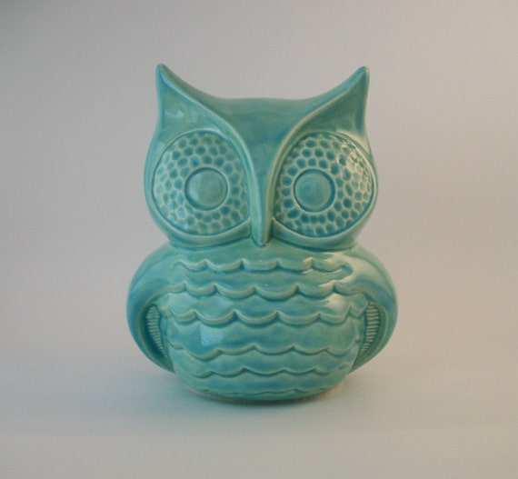 Owl Decor Handmade Vintage Ceramic Owl in Turquoise or Color of Choice (45 Color Choices), Home or Garden Decor, Unique Gifts