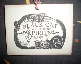 Black Cat Spirits  Halloween Tag - Label - Art Deco - Set of Six