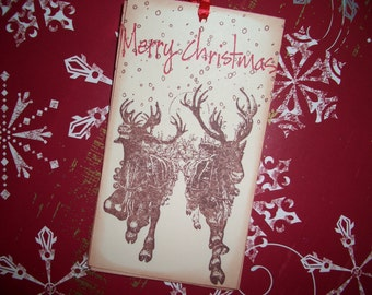 Reindeer Christmas Tag - Beautiful Vintage Reindeer Image - Snow - Merry Christmas - Handmade Set of Six