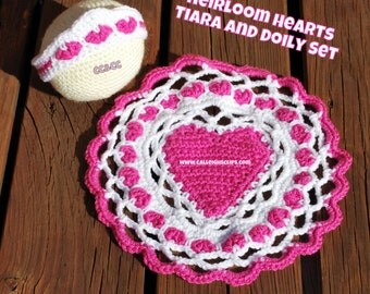 Instant Download Crochet Pattern No. 114  - Heirloom Hearts Tiara & Doily Cape/Mat