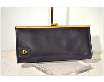 Vintage 1970's Pierre Cardin Navy Blue Leather Clutch Purse w/ Brass Frame and Logo