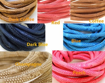 "10Feet 120"" 7Color Select Leather Rope, Snakeskin Leather Rope Cord ,Dia.6 mm ,Blue Cord,Peach Cord,Champagne,Dark Coffee,Red Cord Leather"