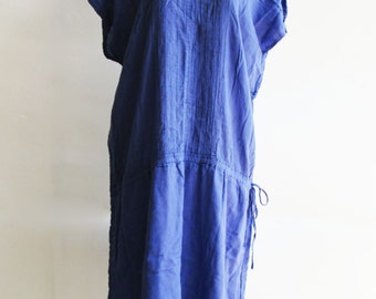 D21, V Neck Bright Blue Cotton Dress