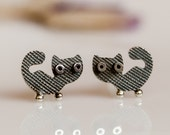 Kitty CAT Stud Earrings Sterling Silver Patterned Surface Oxidized Black Mini Zoo series