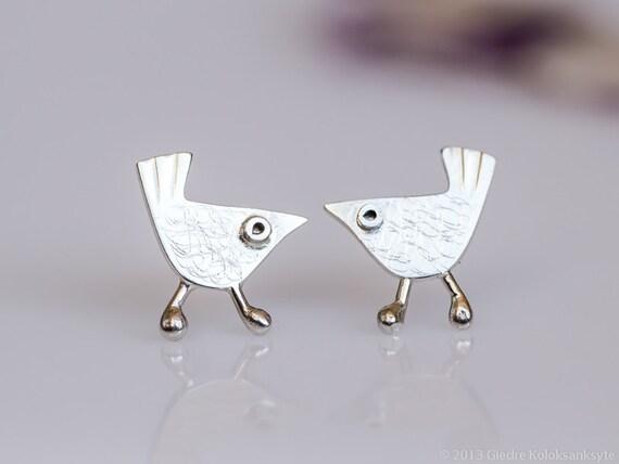 Little BIRD Stud Earrings Sterling Silver Mini Zoo series