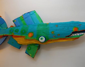 Painted Driftwood Fish Art - Colorful Rustic Recycled Wood Original Fish Art Handmade Ready to Hang anywhere for Decortative Wall Decor