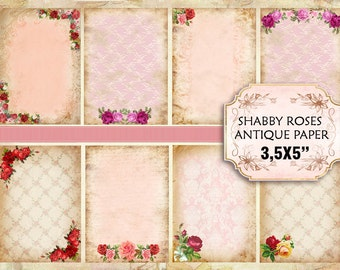 Old Vintage paper with roses Shabby chic paper Scrapbook Decoupage 3,5x5 inch (381)