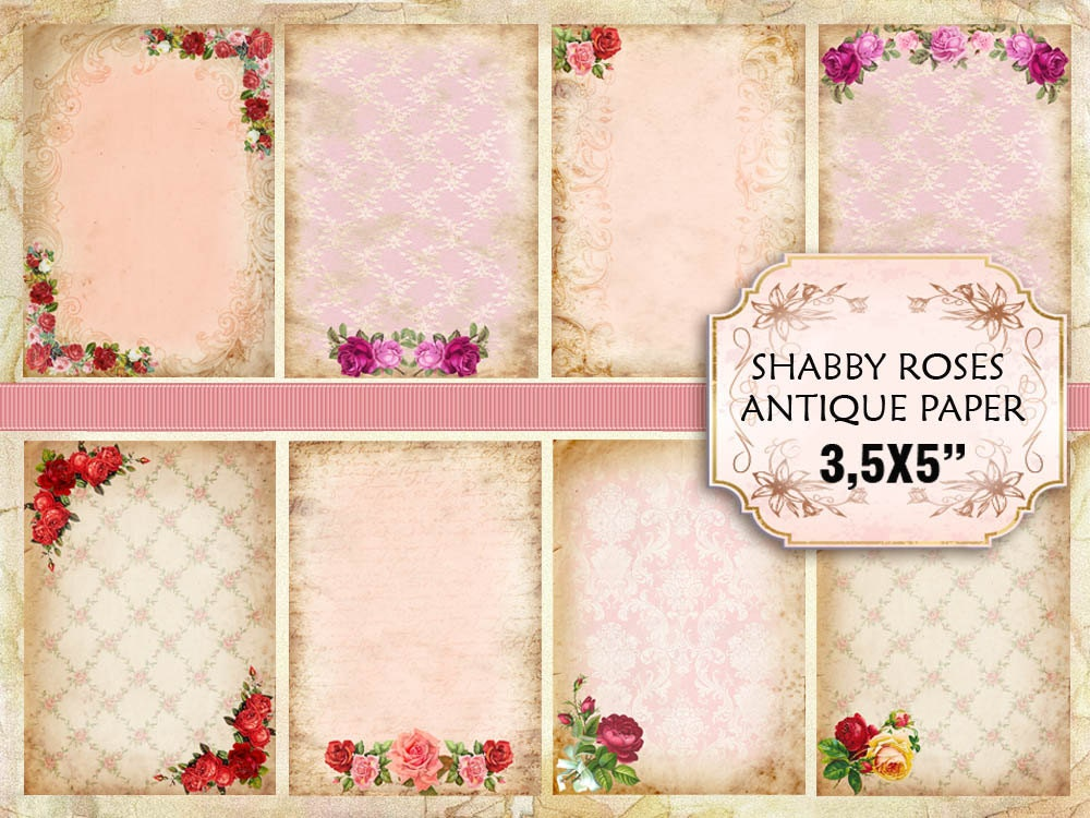 Old Vintage paper with roses Shabby chic paper Scrapbook