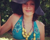 yellow wooden bib necklace
