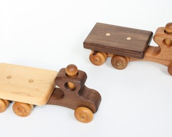 Wooden Toy Flatbed Trucks in Walnut/Maple and Cherry/Walnut, With All Natural Finish