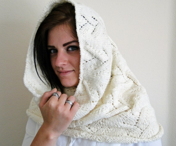 Hooded Neck Warmer Knitting Pattern : Knit Neck Warmer Cowl Scarf with Hood Lilly of the Field