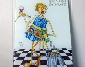Glass Cutting Board Trivet Wine Lady Funny Whimsical Kitchen Decor small 8x11 inches