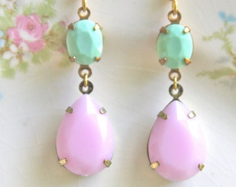 Vintage Pink Pear Pastel Tear Drop Mint Green Oval Drop Dangle Earrings - Bridal Earrings,Pastel Earrings,, Bridesmaid Earrings