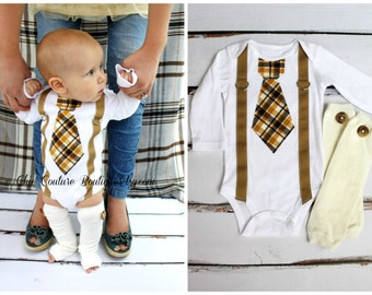 Newborn Baby Boy Coming Home Outfit. Tie and Suspenders Bodysuit & Button Leg Warmers SET.  Gender Reveal Outfit, Mustard Yellow Brown Tan.