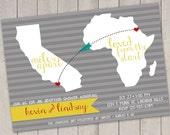 Miles Apart International Adoption Baby Shower Custom Invitation - Digital Download