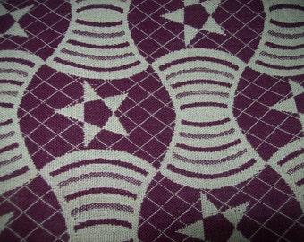 African fabric woven kente cloth, burgundy wine color/Kente throw/ Kente cloth