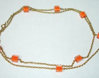 Vintage Goldtone Long Chain Necklace with Clear n& Orange/Yellow Striped  Lucite Cubes
