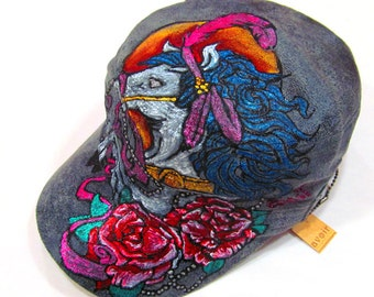 Hand Painted Tattoo Illustratrated Circus Horse Grey Military Beige Denim Based Hat