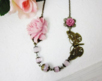 Pastel Pink Rose Necklace. Gift for her. Anniversary, Birthday, Bridesmaid, Christmas, Maid of Honor.
