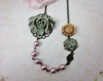 Grey and Pink Roses Necklace. Gift for her.  Anniversary, Birthday, Bridesmaid, Maid of Honor.