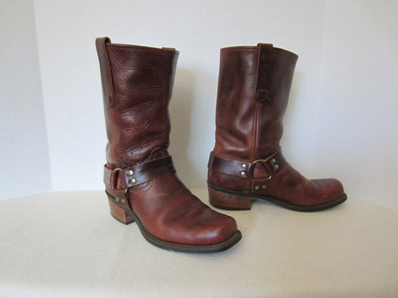 s vintage engineer boots brown leather harness style