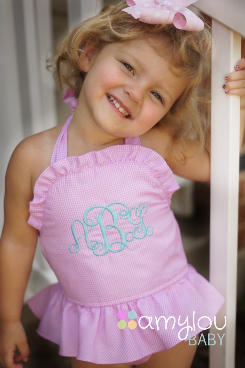 monogrammed pink gingham swim suit for baby and toddler runs