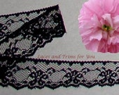 Black Lace Trim 12/24 Yards Dainty Floral 1-1/8 inch wide Lot P14 Added Items Ship No Charge