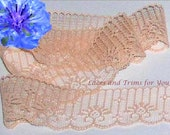 Peach Lace Trim 12 Yds Candlewick Scalloped 1-3/4 inch Lot E35 Added Items Ship No Charge