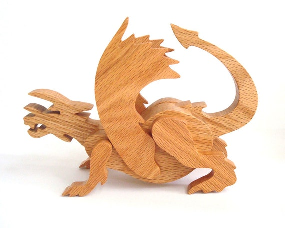 European Dragon Wood Sculpture Fantasy Figure Oak Hand Cut Scroll Saw