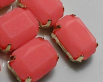 12 Pieces 14 mm x 10 mm  Vintage Opaque Coral  Peach Pink Acrylic Cabochon With Gold Prong Sew on Setting.