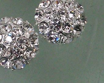 10  Clear  Rhinestone Silver Half Dome Buttons 83HSV 21 mm