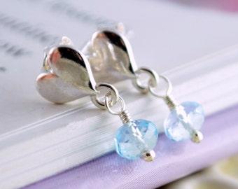 Pale Blue Topaz Earrings, Child, Sterling Silver, Girls, Genuine Real, Gemstone Jewelry, December Birthstone, Heart Ear Posts