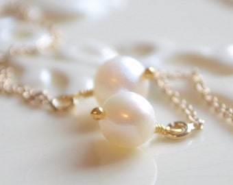 Delicate Jewelry, White Genuine Freshwater Pearl Earrings, Classic Threaders, Gold or Sterling Silver, Free Shipping