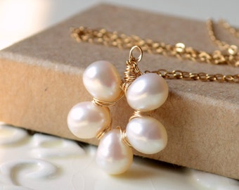 Freshwater Pearl Flower Necklace, Ivory Pearl Pendant, Wire Wrapped, June Birthstone, Sterling Silver or Gold Jewelry, Free Shipping