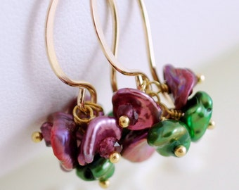 Flower Jewelry, Keshi Keishi Pearl Earrings, Blossoms Plum, Rhodolite Garnet, Wire Wrapped, Floral Feminine, Gold Jewelry, Free Shipping